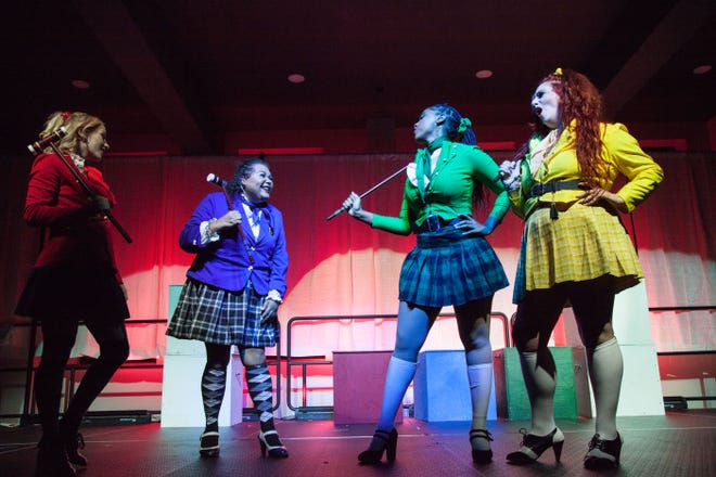 """Khylee Kridler, Francine Parr, Brooke Jai and Sara Hardesty perform in Millennial Theatre Project's production of """"Heathers the Musical"""" at the Akron Civic Theatre's new Knight Stage."""