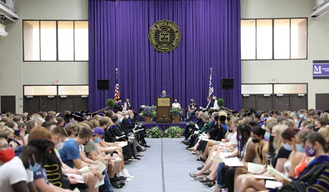 University of Mount Union President Tom Botzman addresses the Class of 2025 and university faculty on Aug. 20 at the 2021 Matriculation Convocation.