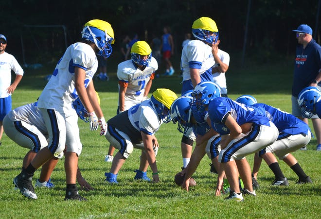 The Inland Lakes varsity and junior varsity football teams prepare for an upcoming play during a practice held in Indian River on Tuesday, Aug. 17. Fresh off an 8-2 season and a first-ever regional title for the program, the Bulldogs will host Onaway on Friday, Aug. 27, at 7 p.m.