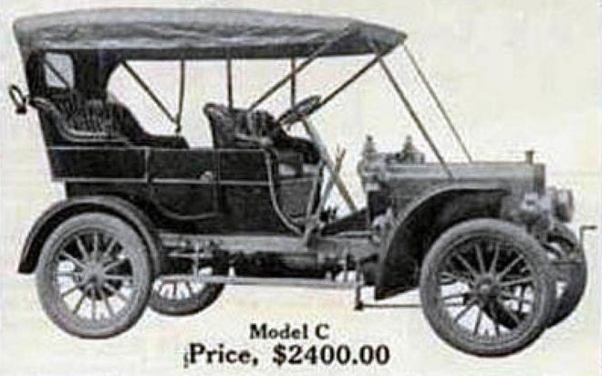 The Model C Page-Adrian Automobile was the brainchild of J. Wallace Page and the Page Woven Wire Fence Co. It was powered by a four-cylinder, two-cycle, air-cooled engine that promised low maintenance and simplicity in its design. It's selling price in 1907 was $2,400, making it the most expensive car of those produced in Adrian.