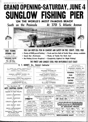Full-page ad in The Daytona Beach Evening News announcin opening of the Sunglow Pier in 1960.
