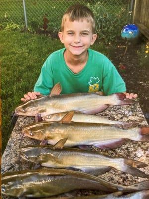 Kameron Floming, 10, caught these catfish in Mud Creek, Atkinson.