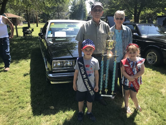 The Best of Show trophy at the annual Galva Freedom Fest's Car Show  Sunday went to Don and Ola Adcock of Abington. The award is voted on each year by the car show participants. Sunday Galva had 130 participants with a good turnout. The car is a 1985 Chevy  El Camino Conquista
