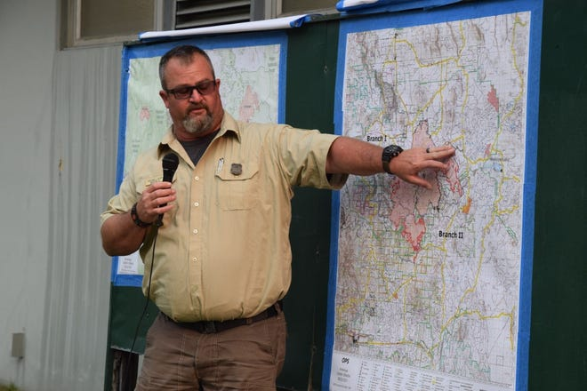 Operation Chief Mike Davis explains on Aug. 22, 2021 the Forest Service's firefighting efforts in containing the Antelope Fire, which is currently 30% contained on day 22 and is threatening the town of McCloud.
