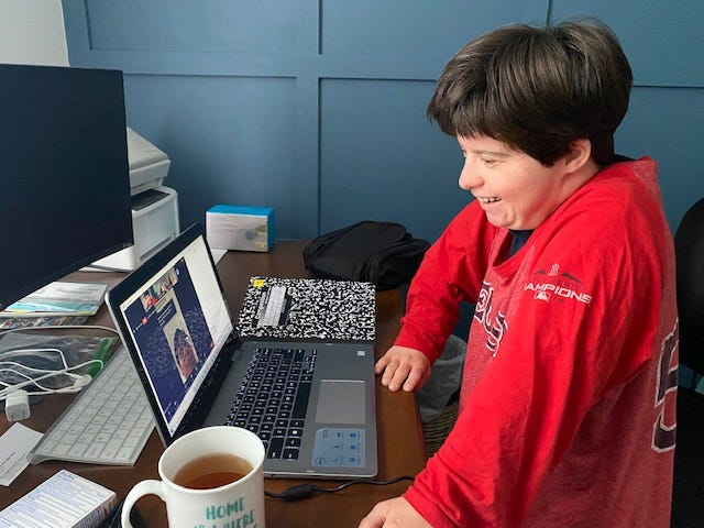 Amy Knowlton of Boynton Beach attends a Zoom session of Camp Wings of Friendship.
