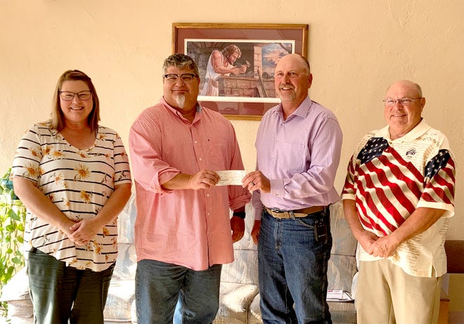 The Pratt Hope Center was presented with a $2,000 check that was made possible by the Pratt Elks Lodge Spotlight Grant on Tuesday, August 17. (From left to right) Pam Ford, the Hope Center Director; Rev. Scott Powell, the Hope Center Board President; Eric McManaman, the Pratt Elks Lodge #1451 Exalted Ruler; and Kenneth Gates, Pratt Elks Lodge #1451 Lecturing Knight.