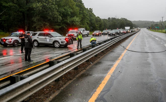 A downed power line closed both sides of Route 4 in North Kingstown for a period of time on Sunday.