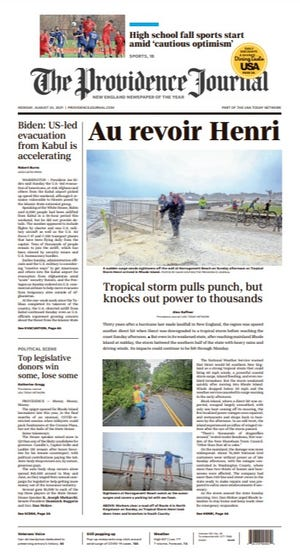 Front page of The Providence Journal for August 23, 2021.