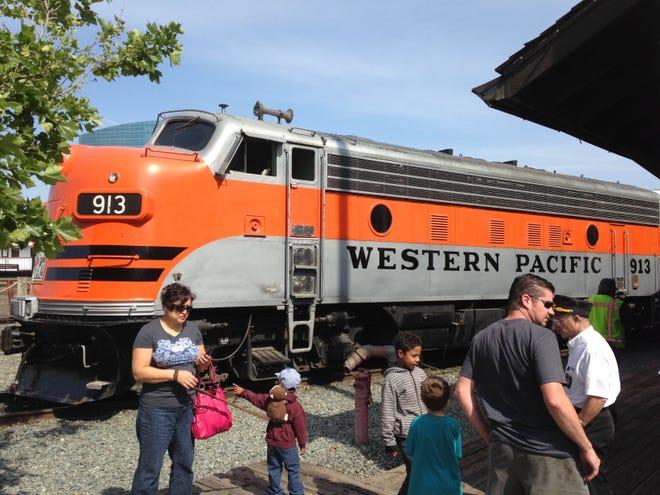Western Pacific Railroad locomotive 913 delights visitors to the California Railroad Museum.