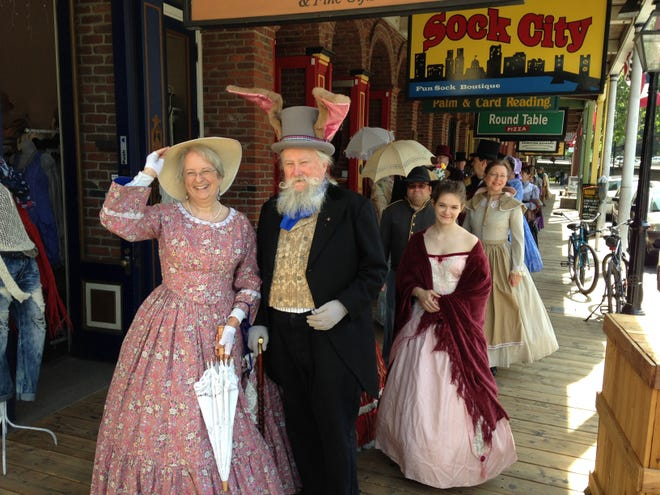Docents from the Sacramento History Museum take a stroll dressed in Sunday finery.