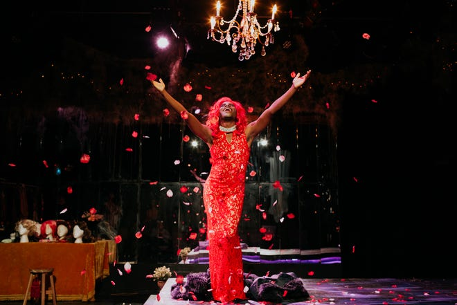 """Playwright and actor Terry Guest in the world premiere production of his play """"At the Wake of a Dead Drag Queen"""" at The Story Theatre in Chicago. The play opens the 2021-22 season at Urbanite Theatre in Sarasota."""