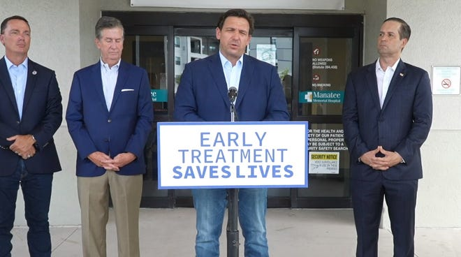 Gov. Ron DeSantis recently appeared in Bradenton to announce the opening of a monoclonal antibody treatment center.