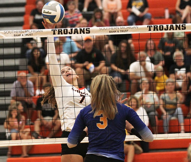 Vivienne Merchant tips a ball back across the net in prep volleyball action on Friday.