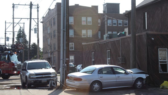 A car ended up hitting a residence on South Main Street Monday morning.