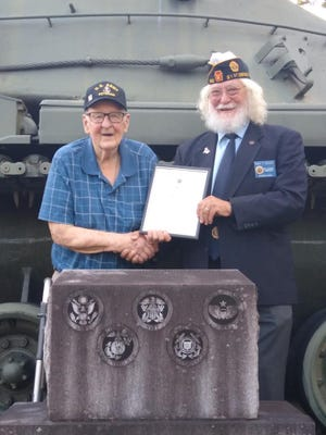 American Legion 21st District Commander Gary Blough recently presentedThomas Telenko, of Jerome, a Certificate of Continuous Membership for 70 years of membership at Jerome Post 0802.