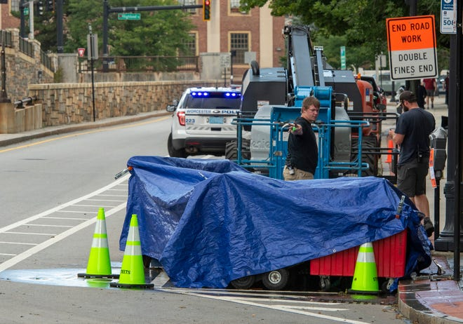 Preparation for movie filming began Monday at the Ernest A. Johnson Tunnel at the north end of Main Street.