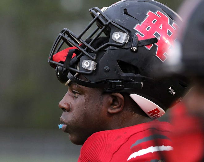 New Bern defensive lineman K.J. Sampson, pictured here in a March 31 home game against Eastern Wayne, begins his junior season as a consensus four-star recruit. He is also the No. 33 defensive lineman and No, 218 overall recruit in the country, per 247Sports composite ratings.