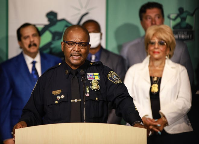 Chief James White speaks during a press conference at the Detroit Public Safety Headquarters in Detroit on Monday, August 23, 2021. Mayor Mike Duggan selected Detroit's interim police chief James White as chief of the Detroit Police Department. The selection still requires approval from the Detroit city council.