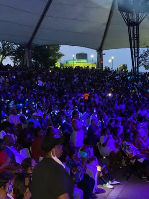 The crowd at Aretha Franklin Amphitheater in Detroit, Michigan, on Saturday, Aug. 21, 2021,  for the Chaka Khan and Isley Brothers concert — the first sold out show since 2019.