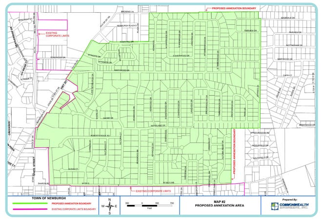 The town of Newburgh is proposing annexation of the area including South Broadview Estates, portions of South Broadview, Wyngate, Andrea Court, Cherry Ridge Estates, Pine Lake Estates, Sharon Rose Manor and other surrounding properties. Public informational meetings begin Tuesday, Aug. 24, 2021.