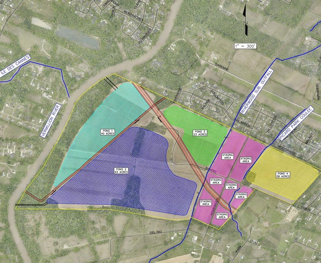 Preliminary designs by McBade Engineers, who LCG has contracted for its $35 million Homewood Detention Project, show several ponds intended to lower water levels on the Vermilion River in Lafayette.