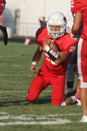 Plymouth's Shae Sparks lit up the scoreboard in a win over Oberlin on Friday night with five total touchdowns.