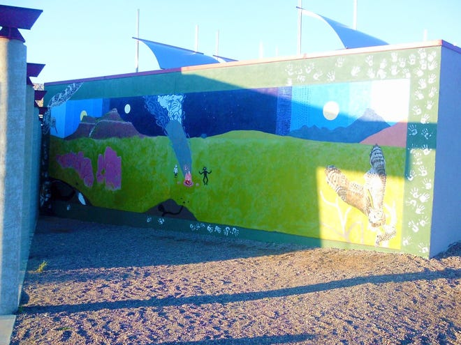 The outdoor mural at City of Rocks State Park was funded by the NM Economic Development Department's Outdoor Recreation Division Outdoor Equity Grant.