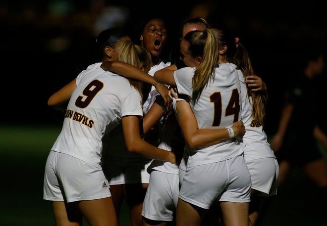 ASU's players celebrate Olivia Nguyen tying goal  against Southeastern Louisiana University  Aug, 22, 2021 in Tempe.