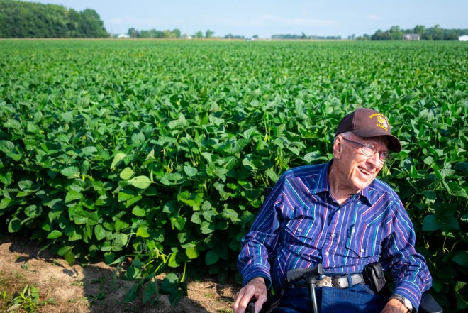 Dwayne Ritchie is interviewed Sunday, Aug. 22, 2021, on a farm in Carsonville before the annual Sanilac County Sheriff Posse trail ride fundraiser. Ritchie, 91, is a founding member of the posse.