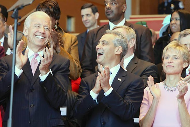Then-Vice President Joe Biden, and Rahm Emanuel enjoy the moment before Emanuel is sworn in as Chicago's 46th mayor on January 5, 2019. (Antonio Perez/Chicago Tribune/TNS)