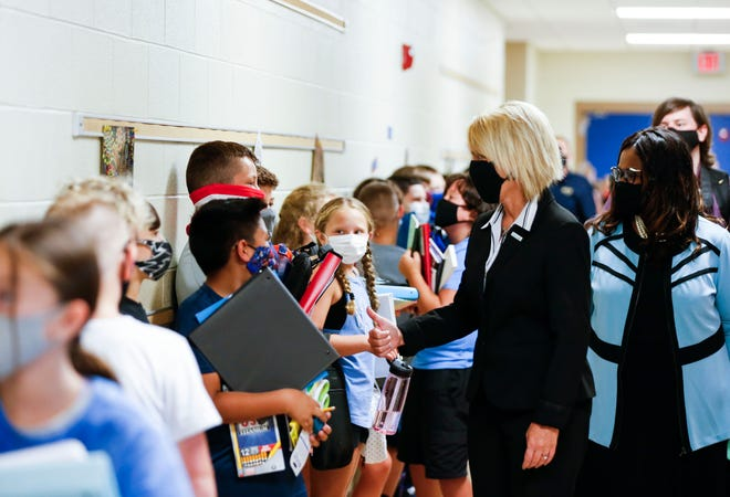 Missouri Commissioner of Education Margie Vandeven visited Springfield's Wilson's Creek Intermediate School on the first day of classes for the 2021-22 year.