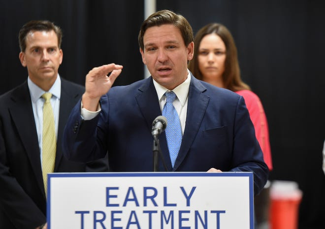 """Gov. Ron DeSantis discusses a free monoclonal antibody treatment site opening at the Havert L. Fenn Center and several others across the state during a news conference at the Fenn Center on Aug. 23 in Fort Pierce. """"The monoclonal antibody treatments are free of charge to the (COVID-19) patients. Whatever they cost the federal government paid for that a long time ago, so if you're somebody that qualifies, and can benefit by that, you come in and you're not going to be charged for it,"""" DeSantis said."""
