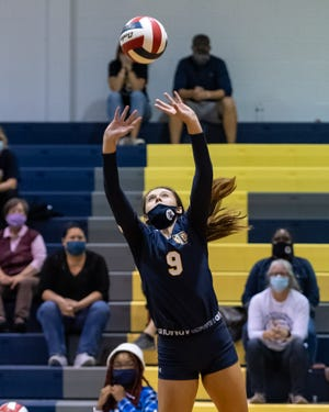Kylee Bagley sets for Stony Point in a game last season. Now a sophomore and in her second season as a starter, Bagley has helped the Tigers enter the week with a 16-4 record and wins over highly regarded clubs like Westwood and San Marcos.