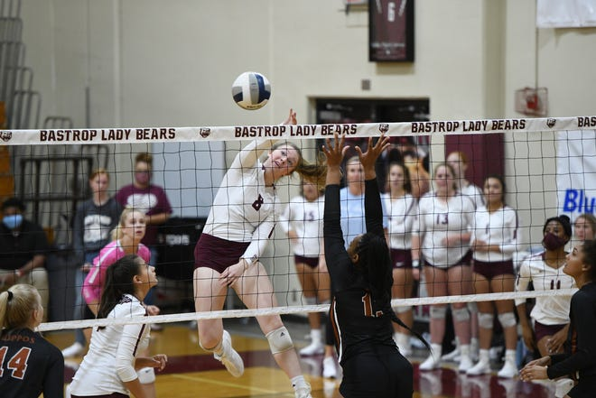 Bastrop's Haylee Diebel gets up for a kill against Hutto during the weekend's Bastrop ISD volleyball tournament. The Bears went 4-4 over the two days.