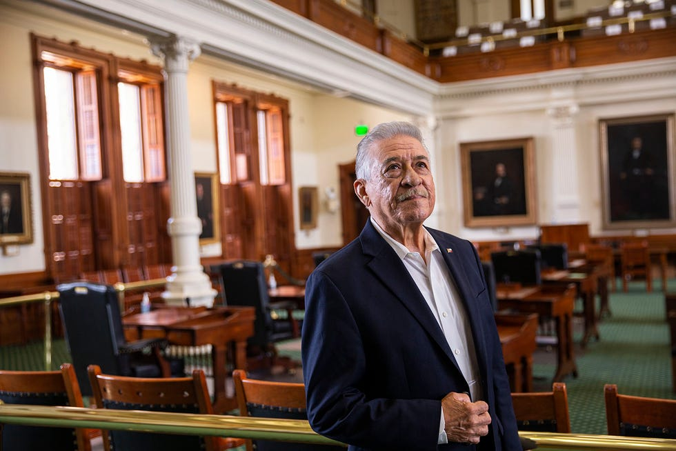 Civil rights pioneer and former state Sen. Gonzalo Barrientos looks around the Senate floor as he visits the Capitol on Aug. 20. Barrientos served for 20 years as a state senator and 10 years as a state representative.