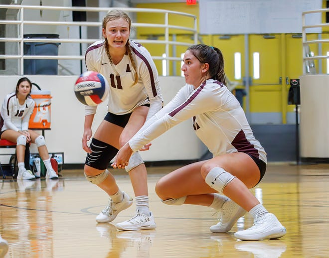 Austin High's Tanon Rosenthal passes the ball against the Cedar Ridge Raiders last week. Rosenthal, a senior, was part of the all-tournament team at the Texas Open Tournament in Allen after firing 108 kills, serving 14 aces, recording 173 assists and making 96 digs to help the Maroons go 6-2 and a runners-up finish.
