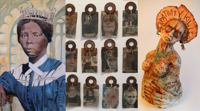 """Examples of pieces that will be part of the ongoing """"Women of Resilience"""" art exhibit in the Saly Otto Art Gallery at University of Mount Union."""