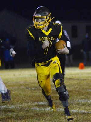 Pellston senior Isaiah Crawford (7) is one of the top returning area high school football players this fall. Crawford will look to lead the Hornets to a repeat of the Ski Valley 8-Man Conference title as well as playoff success.