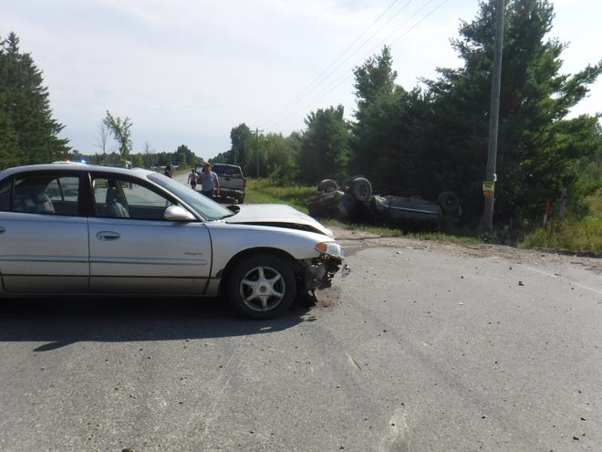 The driver of this Buick Regal was not injured in the two-vehicle accident on Monday in Grant Township.