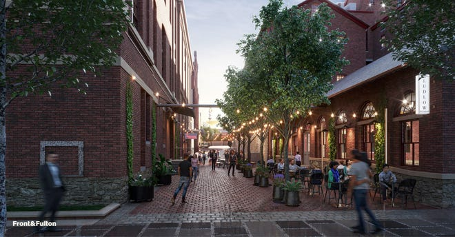 The former Hoster Brewing building in the Brewery District will be transformed into Front & Fulton, including Ludlow Alley outdoor space, shown in this rendering.