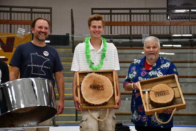 KROX and the Crookston Times received a custom Minneschlagen game for their years of support for the Ox Cart Days summer festival