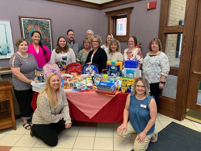 Ramsey National Bank recently showed their community spirit when they participated in an community donation event to support back to school supply shopping.