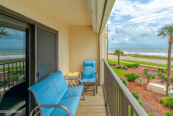 Enjoy the most amazing sunrises over the quiet, no-drive beach from this two-bedroom, two-bath condominium.