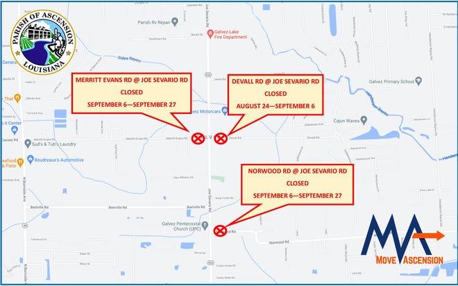 Ascension Parish DPW announces road closures along Joe Sevario Road.