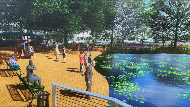 This is an artist's rendition of the landscaping and amenities planned at the Lee Street pond in the middle of the Emerald Trail's first segment.