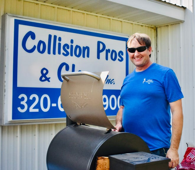 Todd Tennis of Collision Pros and Glass celebrates 25 years while making grilled treats for guests.