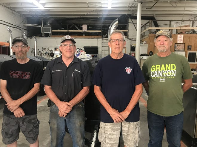 Four Galva Firemen have served on the Galva Fire Department totally 143 years.  Pictured from left is Flip Wilson,40 years;  Denny Tarleton, 33 years;  Rich Volkert, 30 years;  and Greg Thompson, 40 years.  The Galva Fire Department currently has 20 firemen.