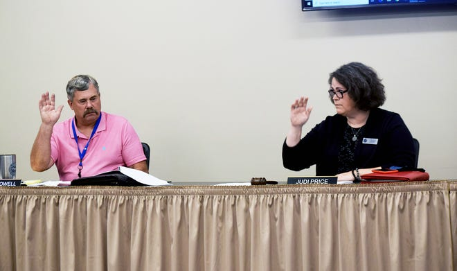 Leavenworth Board of Education Vice President Mike Powell and President Judi Price vote Monday during a meeting. Board members reviewed a proposed 2021-2022 budget during the work session.