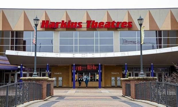 Exterior of Harkins Theater in Oklahoma City, Okla., as seen on Monday, March 16, 2020.    [Chris Landsberger/The Oklahoman]