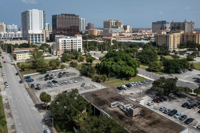 Land in the 700 and 800 block of Datura Street, left and Everina Street, right, in West Palm Beach, Florida on August 24, 2021.